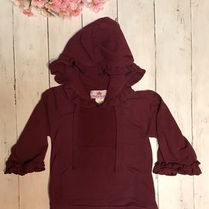 Bella Rose 6 month ruffled maroon pullover hoody